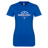 Next Level Ladies SoftStyle Junior Fitted Royal Tee-Georgia State Soccer Stacked