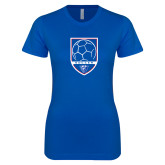 Next Level Ladies SoftStyle Junior Fitted Royal Tee-Soccer Shield w/ Panther Head