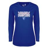 Ladies Syntrel Performance Royal Longsleeve Shirt-Sun Belt Mens Tournament Champions