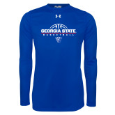 Under Armour Royal Long Sleeve Tech Tee-Georgia State Basketball Stacked