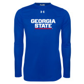Under Armour Royal Long Sleeve Tech Tee-Georgia State Wordmark