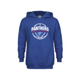 Youth Royal Fleece Hoodie-Panthers Basketball Arched w/ Ball