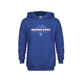 Youth Royal Fleece Hoodie-Georgia State Volleyball Stacked