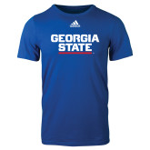 Adidas Royal Logo T Shirt-Georgia State Wordmark