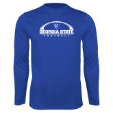 Performance Royal Longsleeve Shirt-Georgia State Football Flat