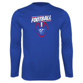 Performance Royal Longsleeve Shirt-Panther Head w/ Football