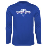 Syntrel Performance Royal Longsleeve Shirt-Georgia State Basketball Stacked