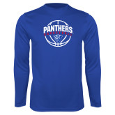 Syntrel Performance Royal Longsleeve Shirt-Panthers Basketball Arched w/ Ball
