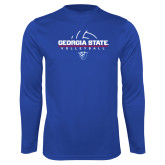 Syntrel Performance Royal Longsleeve Shirt-Georgia State Volleyball Stacked