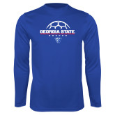 Syntrel Performance Royal Longsleeve Shirt-Georgia State Soccer Stacked