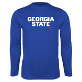 Syntrel Performance Royal Longsleeve Shirt-Georgia State Wordmark