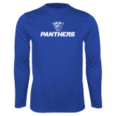 Performance Royal Longsleeve Shirt-Panthers w/ Panther Head