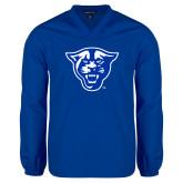 V Neck Royal Raglan Windshirt-Panther Head