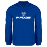 V Neck Royal Raglan Windshirt-Panthers w/ Panther Head