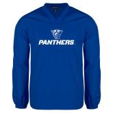 V Neck Royal Raglan Windshirt-Panthers w/ Panther Head