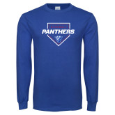 Royal Long Sleeve T Shirt-Panthers Baseball w/ Plate