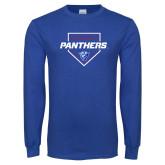 Royal Long Sleeve T Shirt-Panthers Baseball w/ Plate