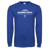 Royal Long Sleeve T Shirt-Georgia State Basketball Stacked