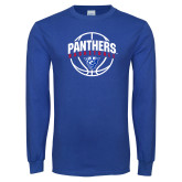 Royal Long Sleeve T Shirt-Panthers Basketball Arched w/ Ball