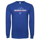 Royal Long Sleeve T Shirt-Georgia State Volleyball Stacked