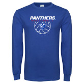 Royal Long Sleeve T Shirt-Panthers Volleyball w/ Ball