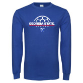 Royal Long Sleeve T Shirt-Georgia State Soccer Stacked