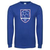 Royal Long Sleeve T Shirt-Soccer Shield w/ Panther Head