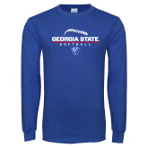 Royal Long Sleeve T Shirt-Georgia State Softball Stacked