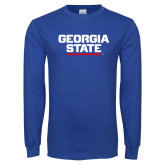 Royal Long Sleeve T Shirt-Georgia State Wordmark