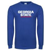 Royal Long Sleeve T Shirt-Georgia State Wordmark