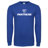 Royal Long Sleeve T Shirt-Panthers w/ Panther Head