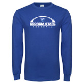 Royal Long Sleeve T Shirt-Georgia State Football Flat