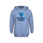 Youth Light Blue Fleece Hoodie-Official Logo Foil