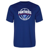Performance Royal Tee-Panthers Basketball Arched w/ Ball
