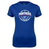 Ladies Syntrel Performance Royal Tee-Panthers Basketball Arched w/ Ball