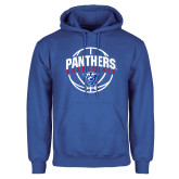 Royal Fleece Hoodie-Panthers Basketball Arched w/ Ball