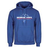Royal Fleece Hoodie-Georgia State Volleyball Stacked