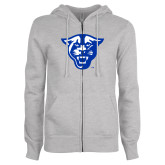 ENZA Ladies Grey Fleece Full Zip Hoodie-Panther Head