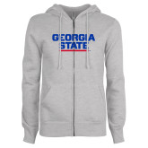 ENZA Ladies Grey Fleece Full Zip Hoodie-Georgia State Wordmark