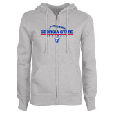 ENZA Ladies Grey Fleece Full Zip Hoodie-Georgia State Softball Stacked