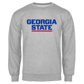 Grey Fleece Crew-Georgia State Wordmark