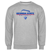 Grey Fleece Crew-Georgia State Softball Stacked