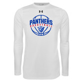 Under Armour White Long Sleeve Tech Tee-Panthers Basketball Arched w/ Ball