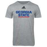 Adidas Sport Grey Logo T Shirt-Georgia State Wordmark