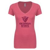 Next Level Ladies Vintage Pink Tri Blend V-Neck Tee-Official Logo Neon Pink Soft Glitter