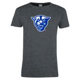 Ladies Dark Heather T Shirt-Panther Head