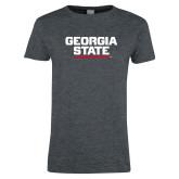 Ladies Dark Heather T Shirt-Georgia State Wordmark
