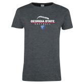 Ladies Dark Heather T Shirt-Georgia State Softball Stacked