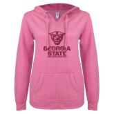ENZA Ladies Hot Pink V Notch Raw Edge Fleece Hoodie-Official Logo Neon Pink Soft Glitter