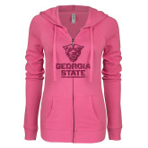 ENZA Ladies Hot Pink Light Weight Fleece Full Zip Hoodie-Official Logo Neon Pink Soft Glitter